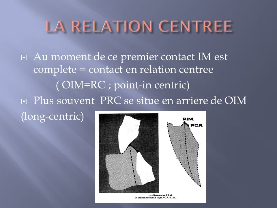 LA RELATION CENTREE Au moment de ce premier contact IM est complete = contact en relation centree. ( OIM=RC ; point-in centric)