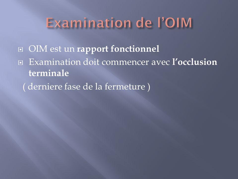 Examination de l'OIM OIM est un rapport fonctionnel