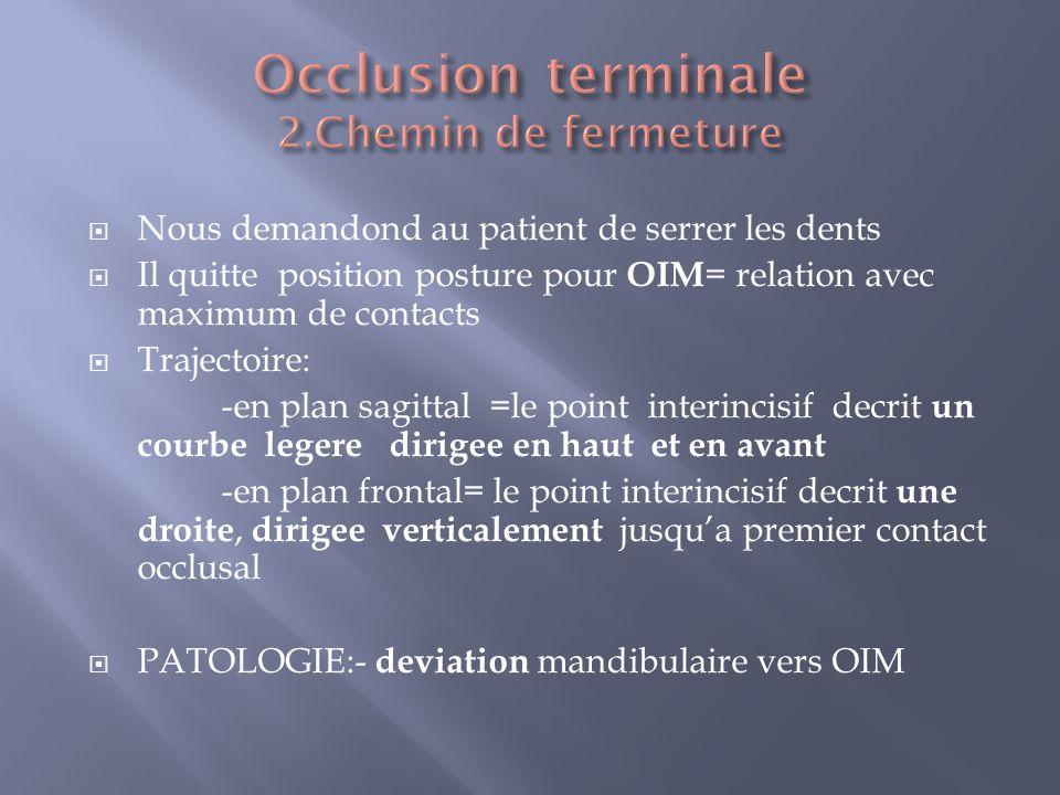 Occlusion terminale 2.Chemin de fermeture