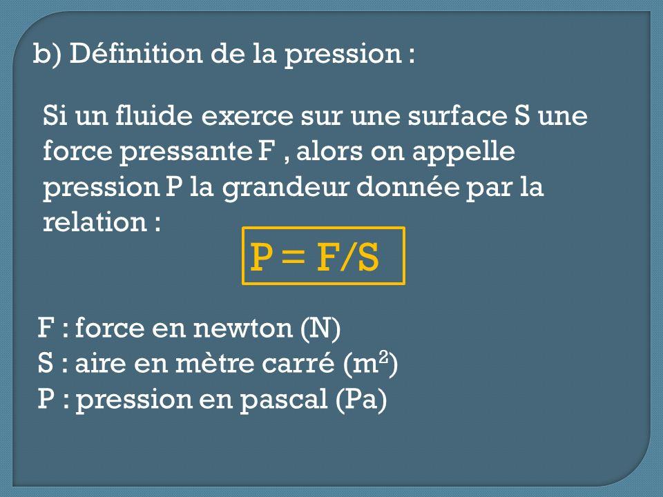 P = F/S b) Définition de la pression :