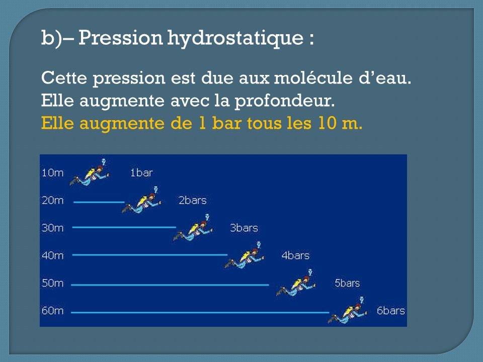 b)– Pression hydrostatique :