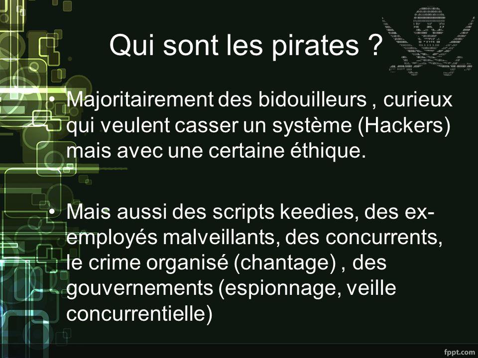 Qui sont les pirates Majoritairement des bidouilleurs , curieux qui veulent casser un système (Hackers) mais avec une certaine éthique.