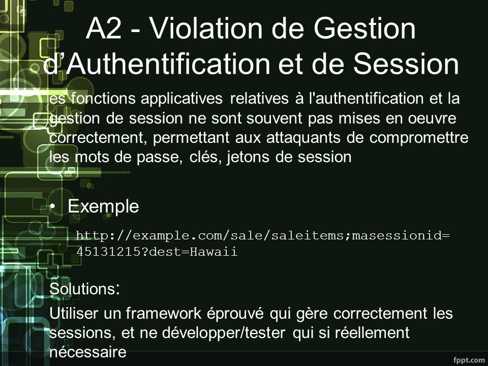 A2 - Violation de Gestion d'Authentification et de Session