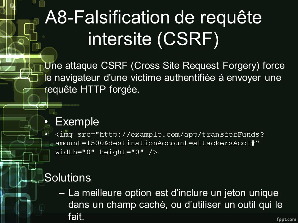A8-Falsification de requête intersite (CSRF)