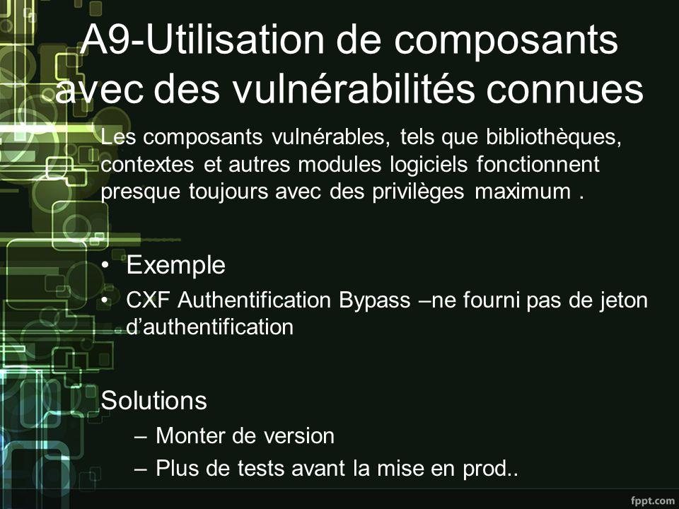 A9-Utilisation de composants avec des vulnérabilités connues