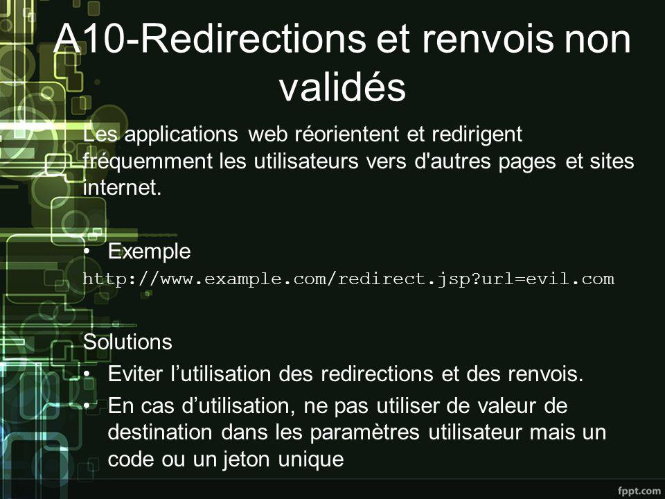 A10-Redirections et renvois non validés