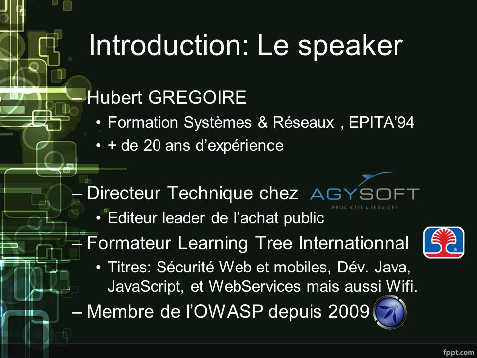 Introduction: Le speaker