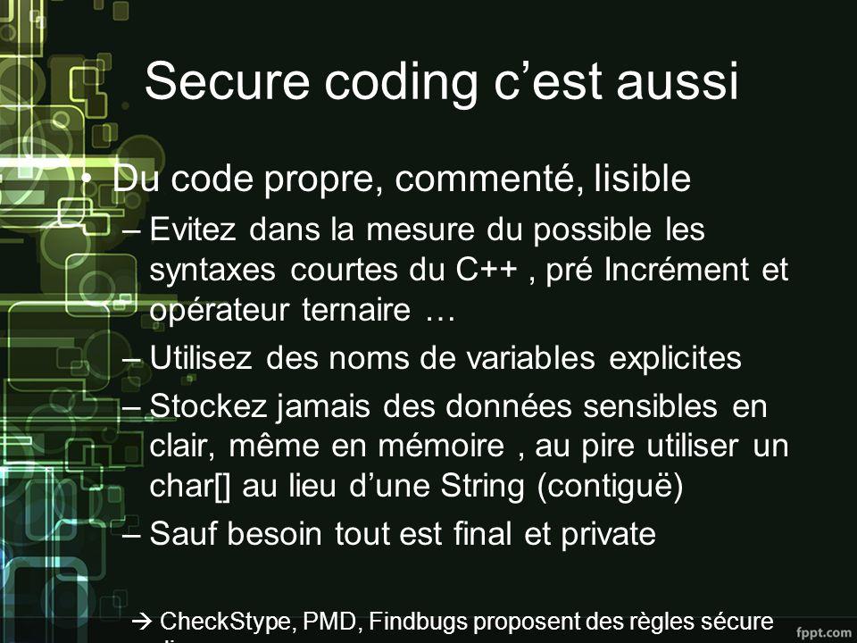 Secure coding c'est aussi