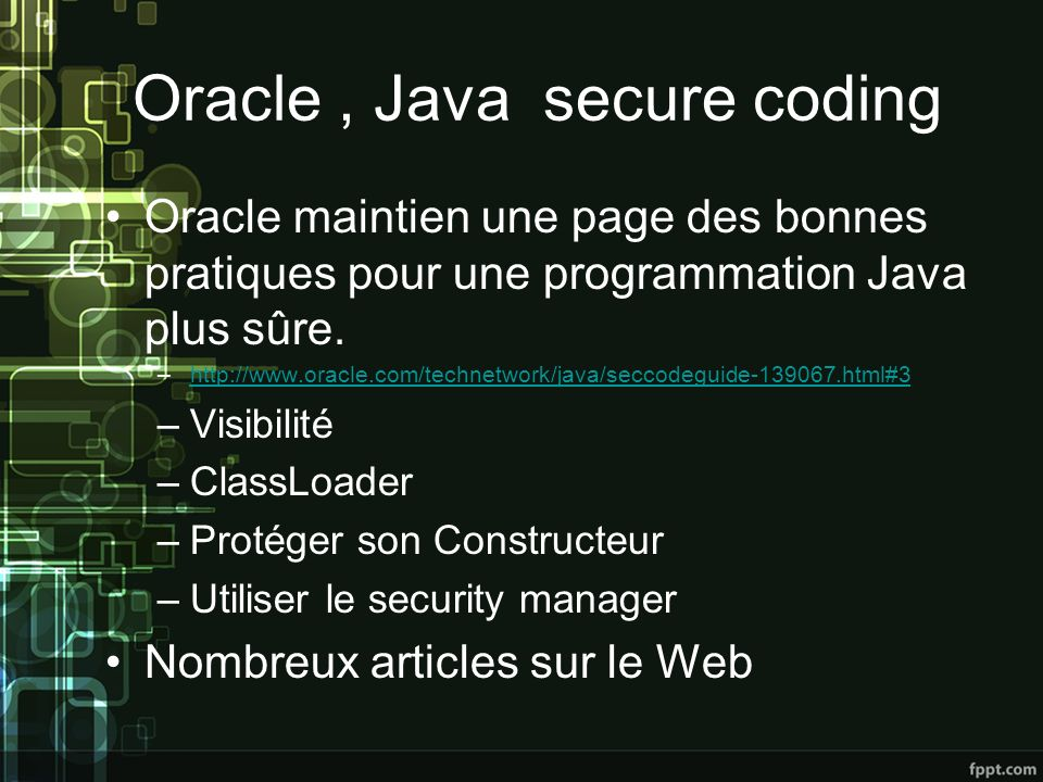 Oracle , Java secure coding