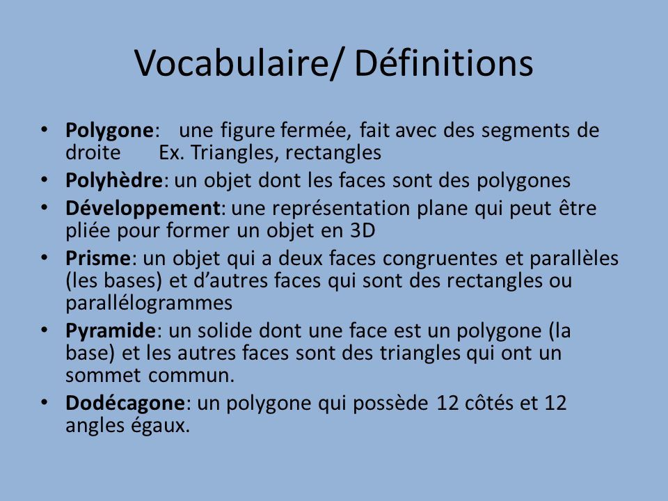 Vocabulaire/ Définitions
