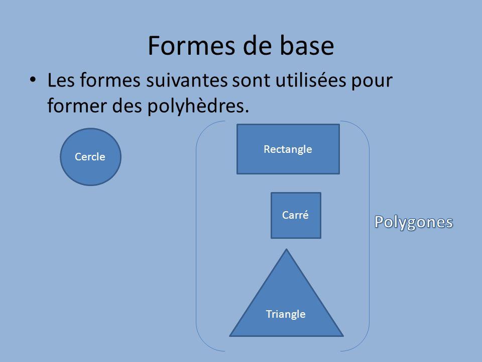 Formes de base Les formes suivantes sont utilisées pour former des polyhèdres. Rectangle. Cercle.