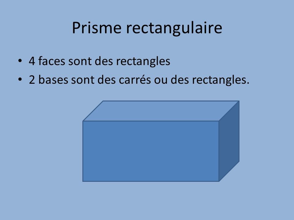 Prisme rectangulaire 4 faces sont des rectangles