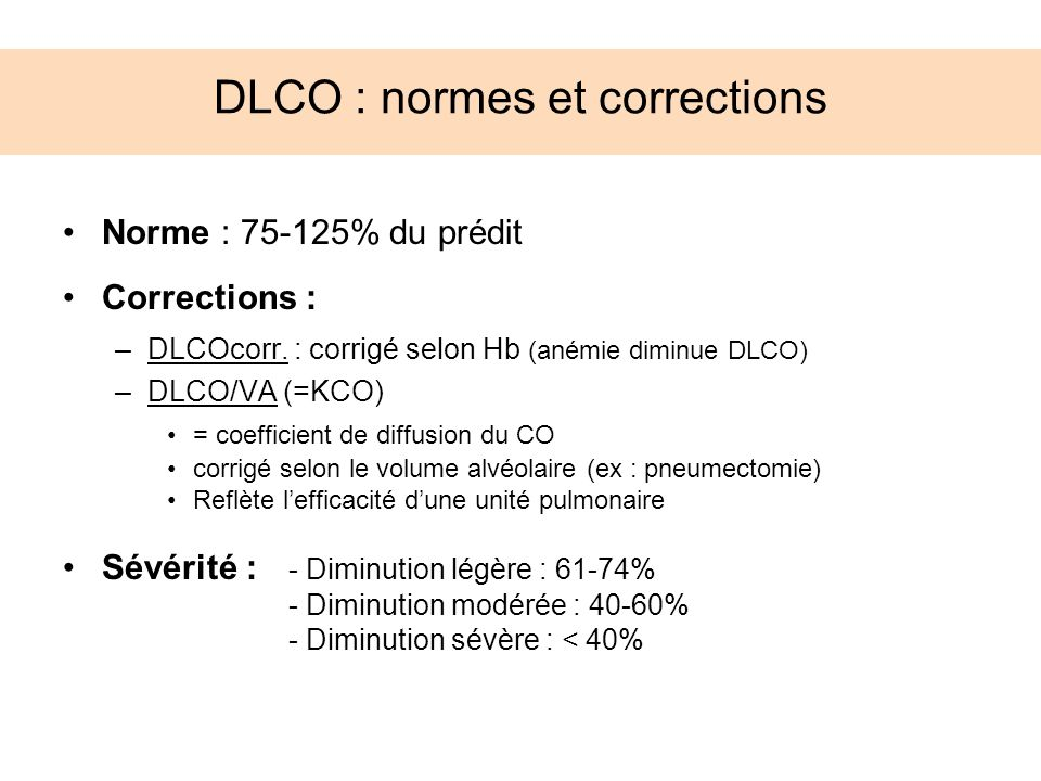 DLCO : normes et corrections