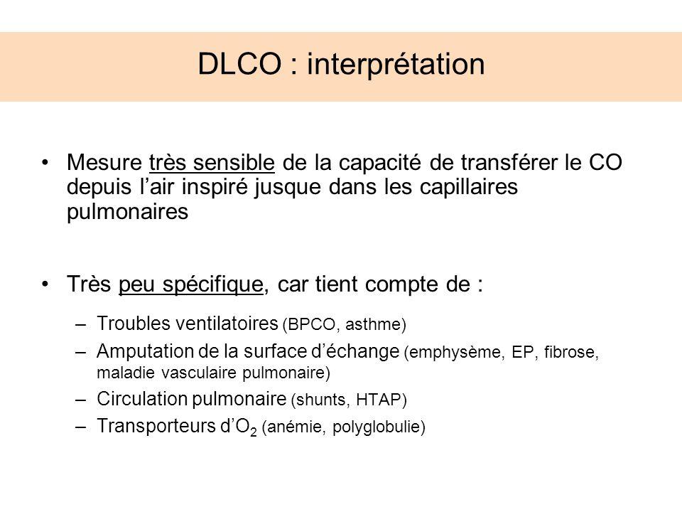 DLCO : interprétation Mesure très sensible de la capacité de transférer le CO depuis l'air inspiré jusque dans les capillaires pulmonaires.