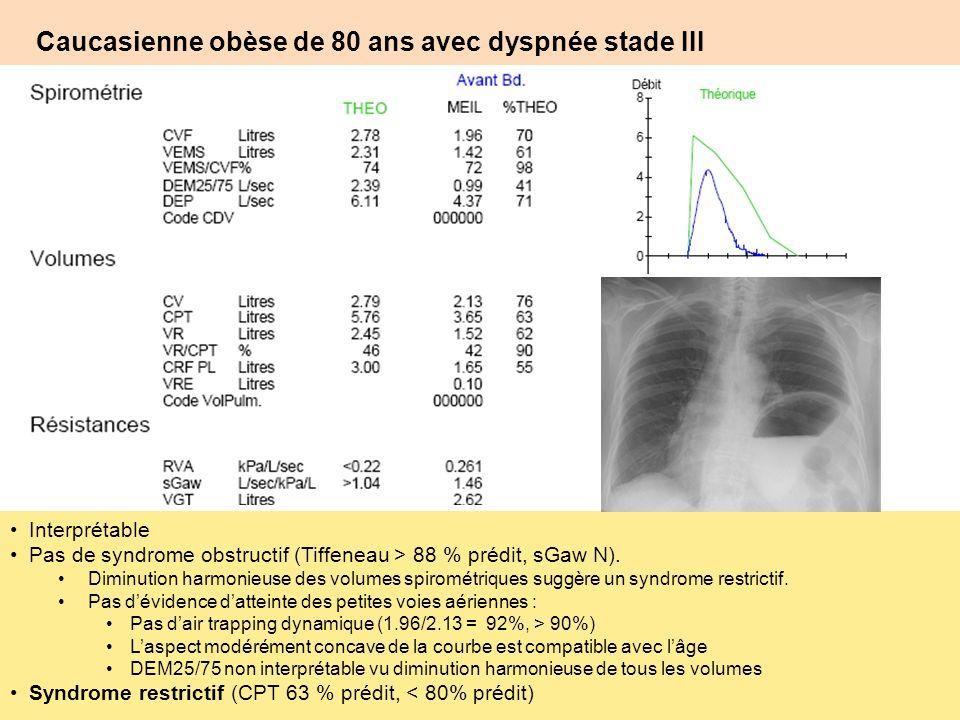 Caucasienne obèse de 80 ans avec dyspnée stade III