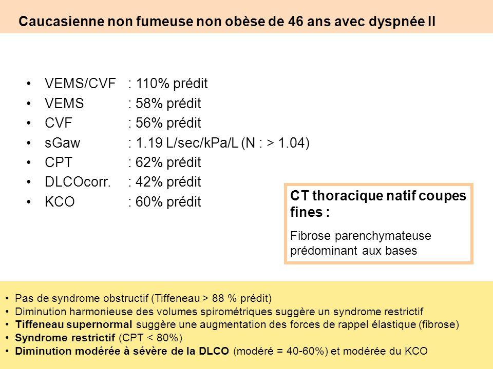 Caucasienne non fumeuse non obèse de 46 ans avec dyspnée II