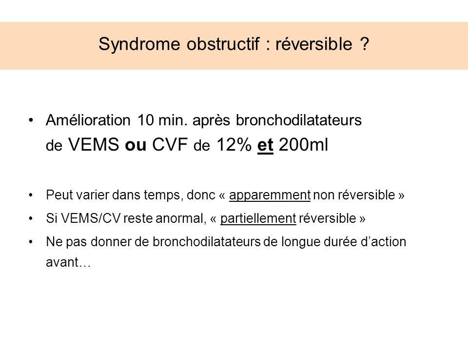Syndrome obstructif : réversible