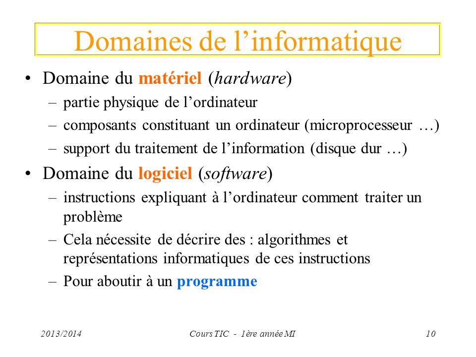 Domaines de l'informatique