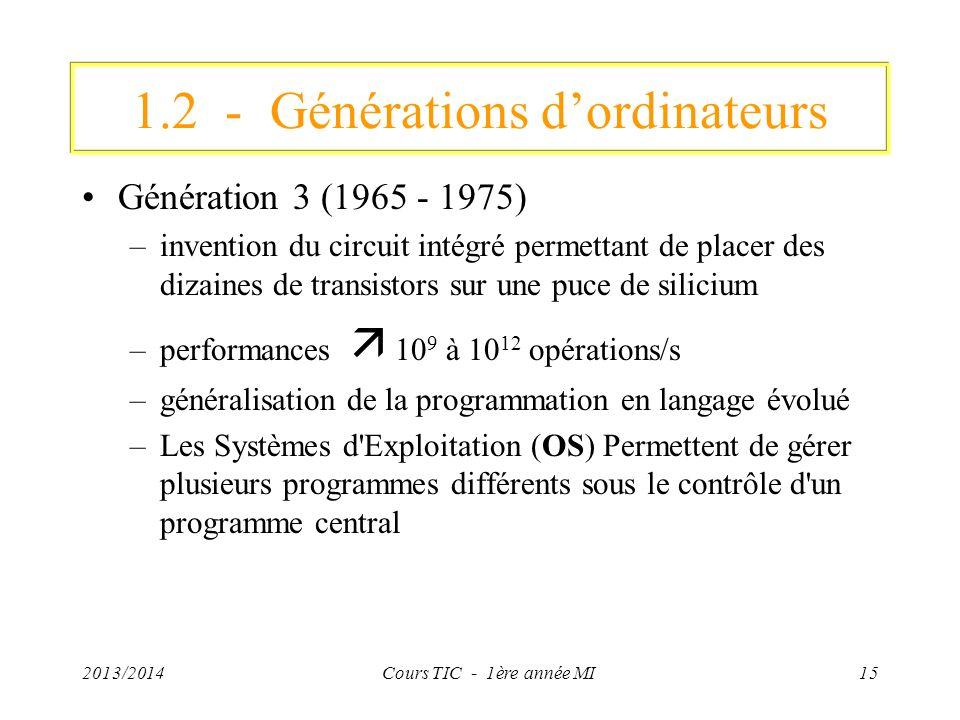 1.2 - Générations d'ordinateurs