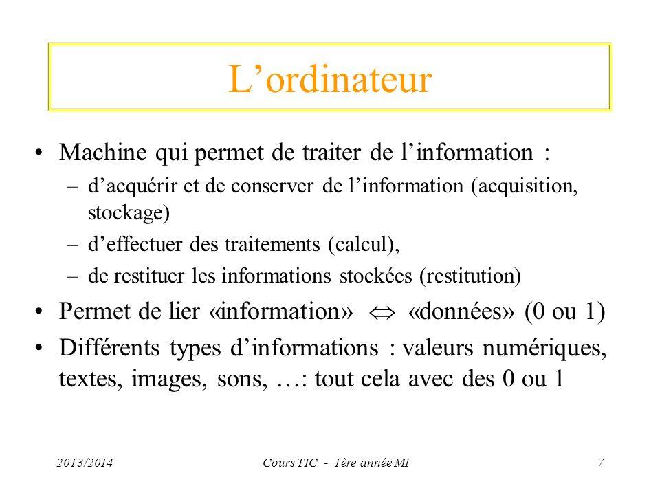 L'ordinateur Machine qui permet de traiter de l'information :