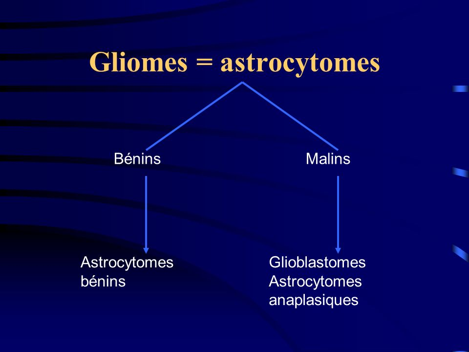 Gliomes = astrocytomes
