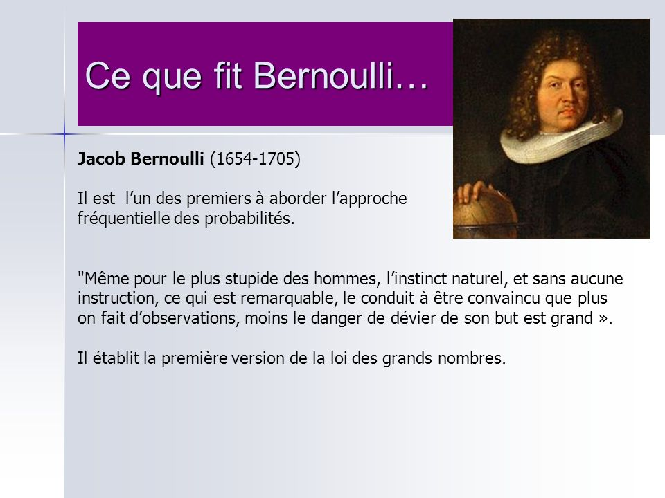 Ce que fit Bernoulli… Jacob Bernoulli (1654-1705)
