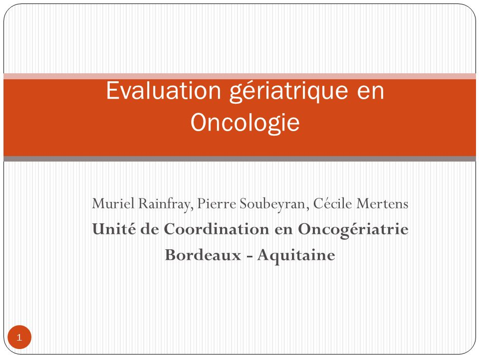 Evaluation gériatrique en Oncologie