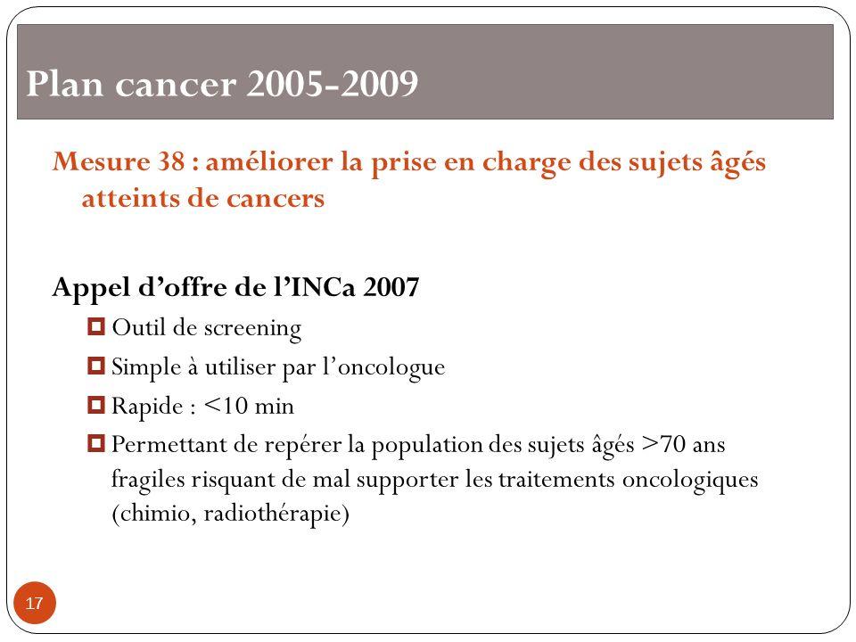 Plan cancer 2005-2009 Mesure 38 : améliorer la prise en charge des sujets âgés atteints de cancers.
