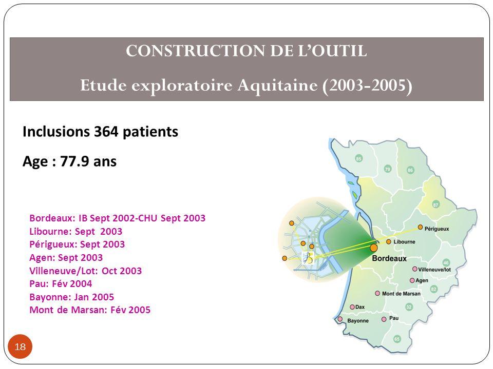 CONSTRUCTION DE L'OUTIL Etude exploratoire Aquitaine (2003-2005)