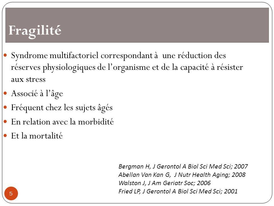 Fragilité Syndrome multifactoriel correspondant à une réduction des réserves physiologiques de l'organisme et de la capacité à résister aux stress.