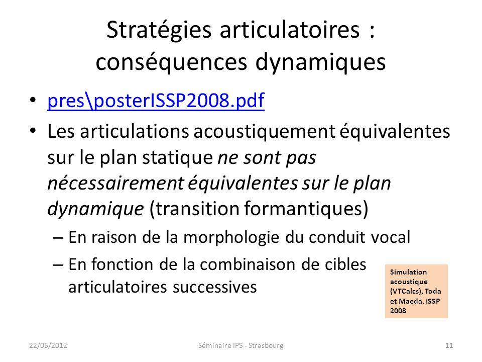 Stratégies articulatoires : conséquences dynamiques