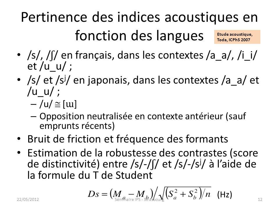 Pertinence des indices acoustiques en fonction des langues