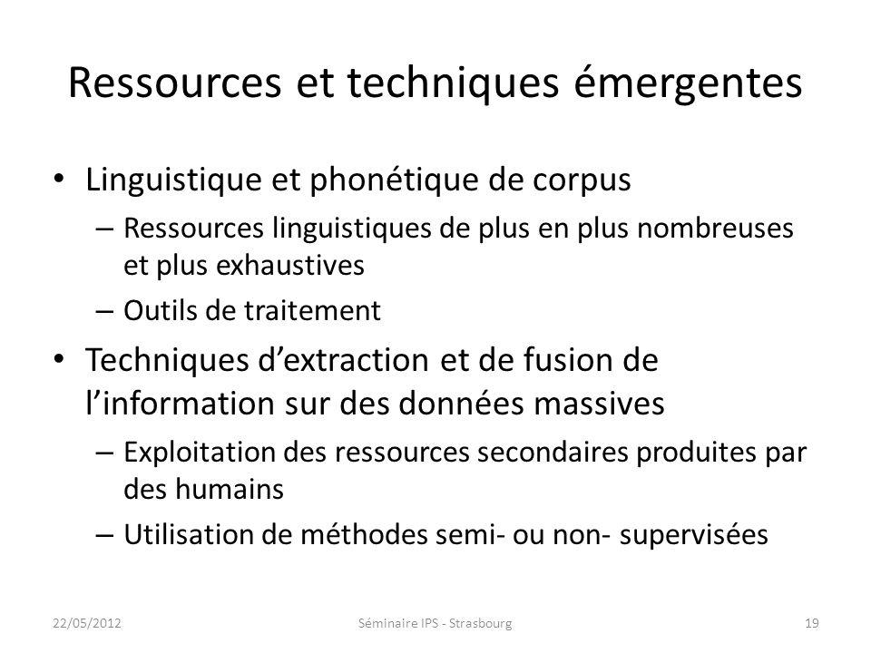 Ressources et techniques émergentes