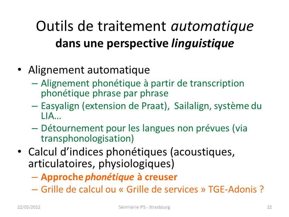 Outils de traitement automatique dans une perspective linguistique