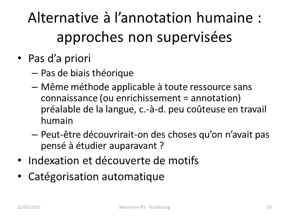 Alternative à l'annotation humaine : approches non supervisées