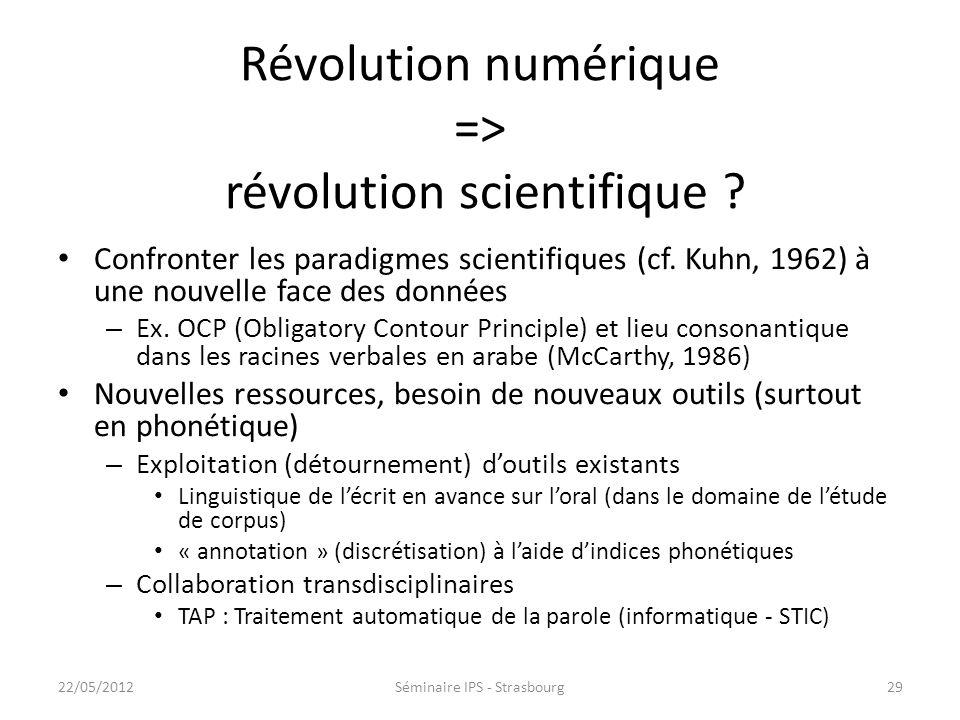 Révolution numérique => révolution scientifique