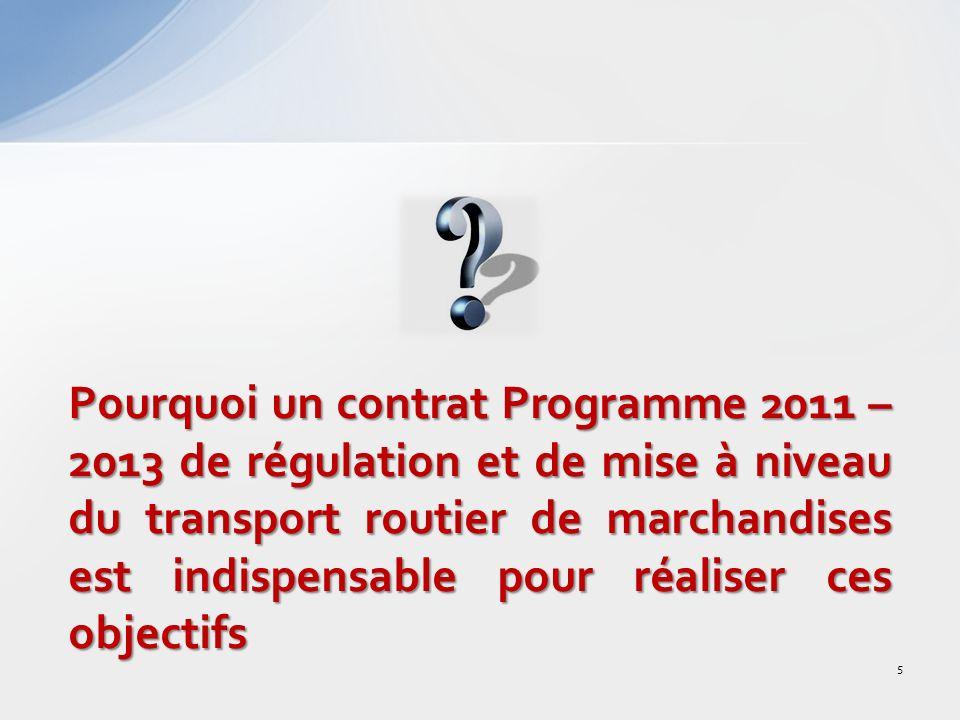 Pourquoi un contrat Programme 2011 – 2013 de régulation et de mise à niveau du transport routier de marchandises est indispensable pour réaliser ces objectifs
