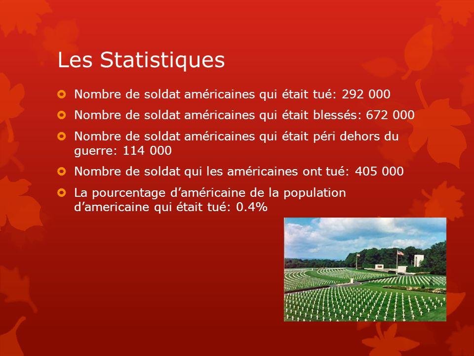 Les Statistiques Nombre de soldat américaines qui était tué: 292 000