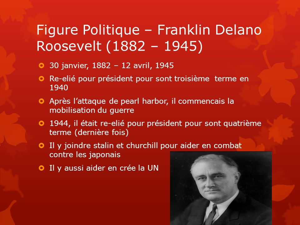 Figure Politique – Franklin Delano Roosevelt (1882 – 1945)