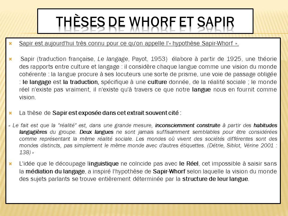 Thèses de Whorf et Sapir