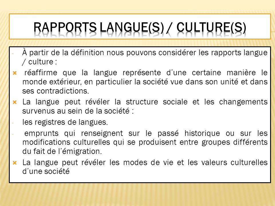 Rapports langue(s) / culture(s)