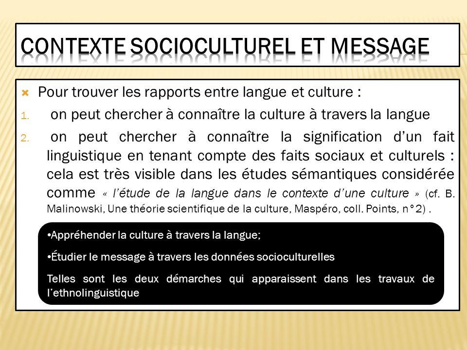 Contexte socioculturel et message