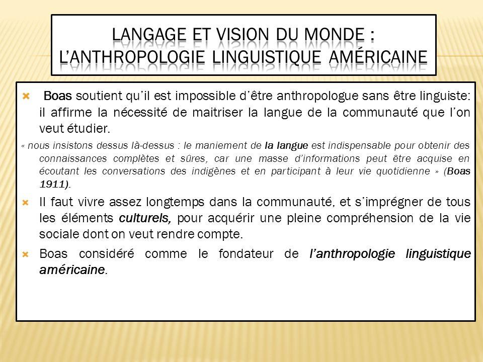 Langage et vision du monde : l'anthropologie linguistique américaine