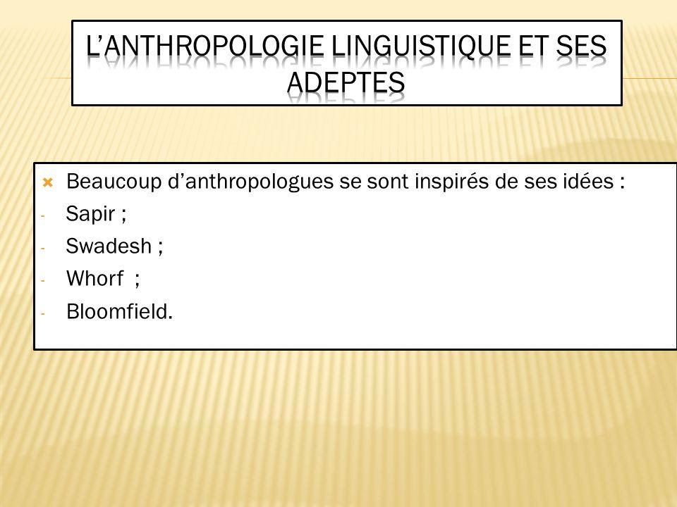 L'anthropologie linguistique et ses adeptes