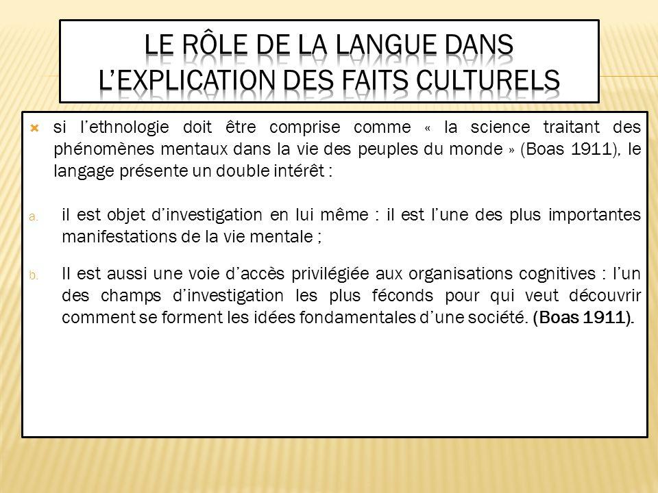 Le rôle de la langue dans l'explication des faits culturels
