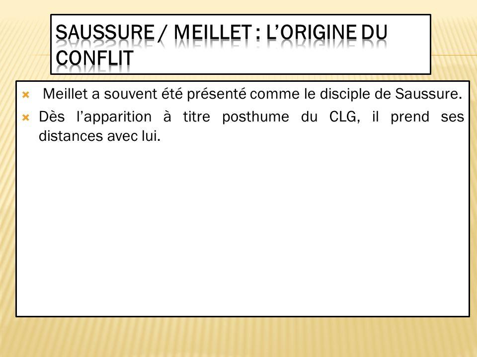 Saussure / Meillet : l'origine du conflit
