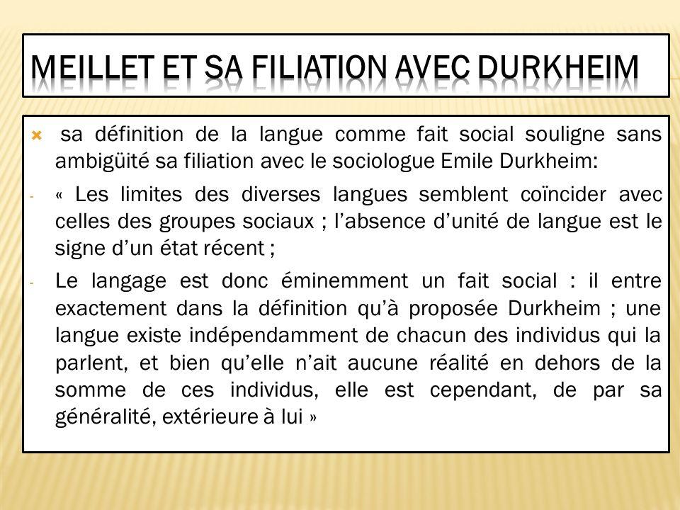 Meillet et sa filiation avec Durkheim