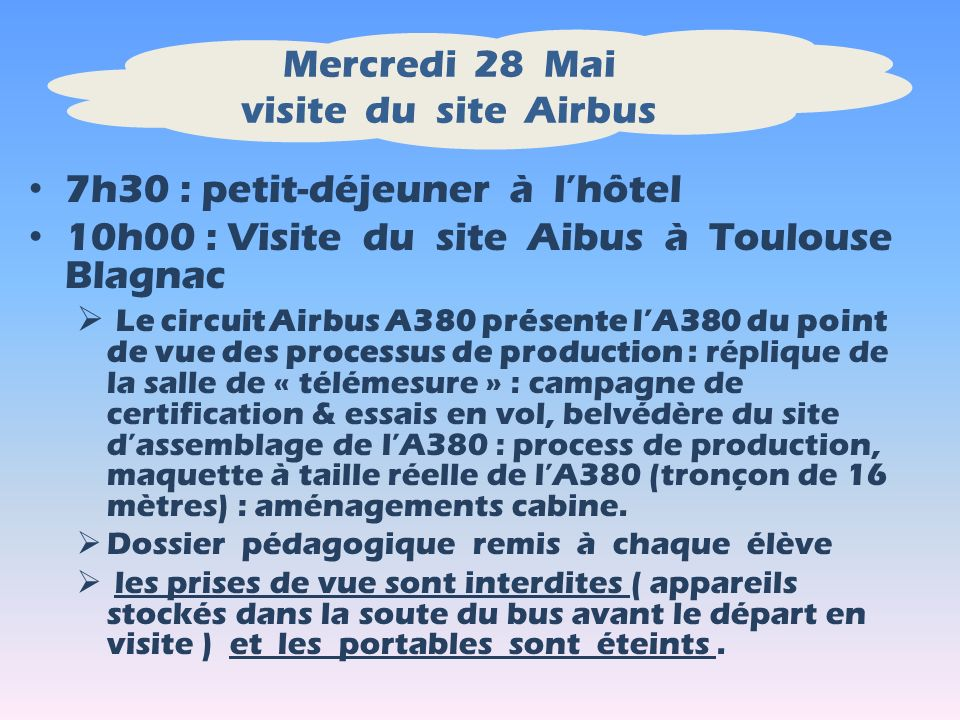 Mercredi 28 Mai visite du site Airbus