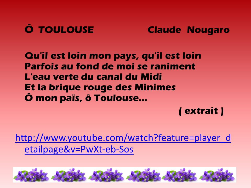 Ô TOULOUSE Claude Nougaro