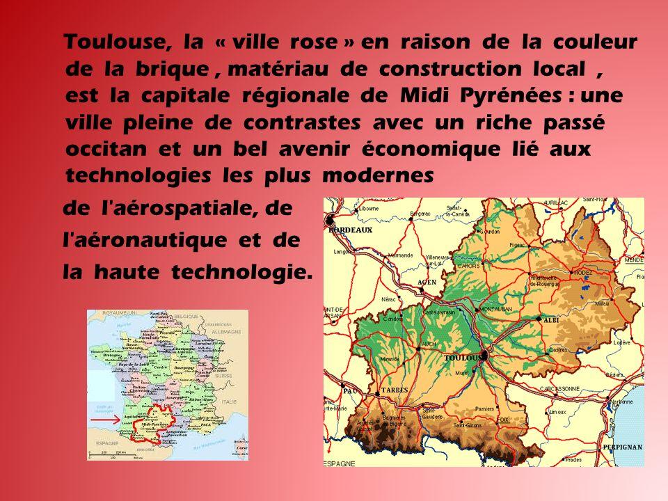 Toulouse, la « ville rose » en raison de la couleur de la brique , matériau de construction local , est la capitale régionale de Midi Pyrénées : une ville pleine de contrastes avec un riche passé occitan et un bel avenir économique lié aux technologies les plus modernes de l aérospatiale, de l aéronautique et de la haute technologie.